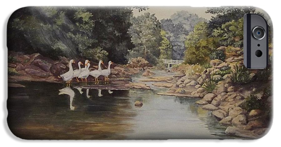 Landscape IPhone 6s Case featuring the painting Mountain Home Creek by Wanda Dansereau