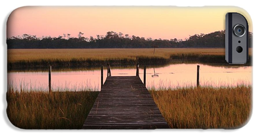 Pink IPhone 6s Case featuring the photograph Pink And Orange Morning On The Marsh by Nadine Rippelmeyer