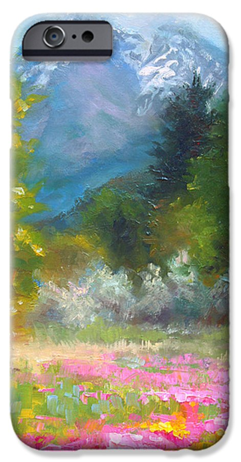 Colorful IPhone 6s Case featuring the painting Pioneer Peaking - Flowers And Mountain In Alaska by Talya Johnson