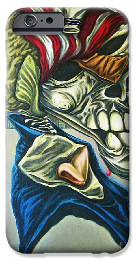 Surrealism IPhone 6s Case featuring the painting Pseudo-archaic Portrait Of An Imaginary Hometown Hero During A Slow Process Of Decomposition by Mack Galixtar