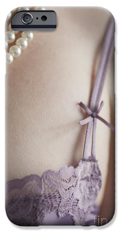 Woman IPhone 6s Case featuring the photograph Purple Bra And Pearl Necklace by Lee Avison
