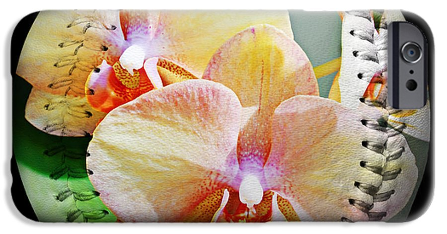 Baseball IPhone 6s Case featuring the photograph Rainbow Orchids Baseball Square by Andee Design