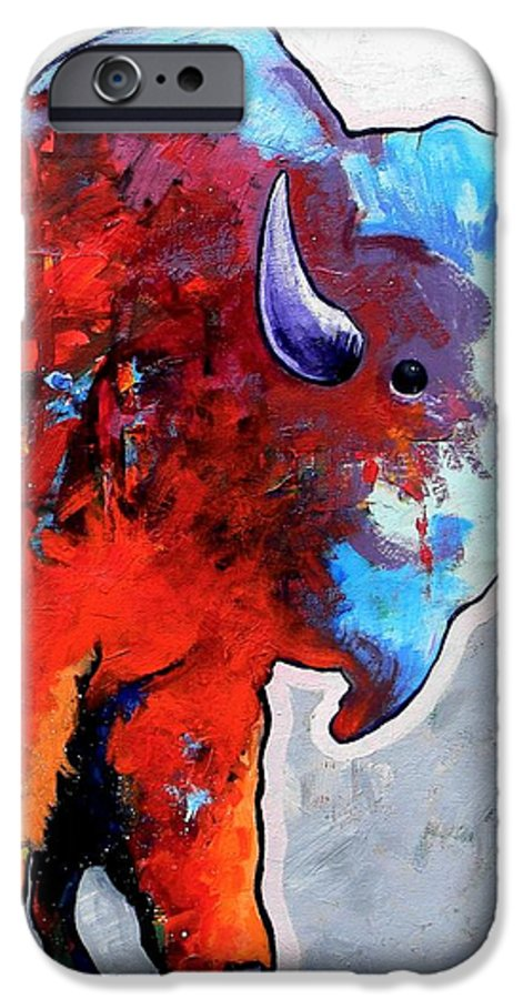 Wildlife IPhone 6s Case featuring the painting Rainbow Warrior Bison by Joe Triano