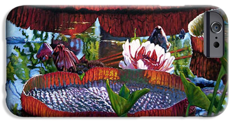 Garden Pond IPhone 6s Case featuring the painting Sunlight Shining Through by John Lautermilch
