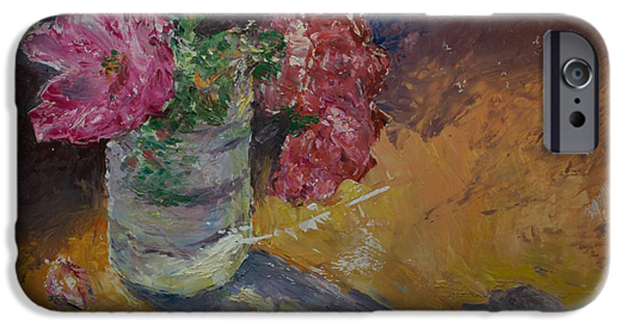 Oil IPhone 6s Case featuring the painting Sunlit Roses by Horacio Prada