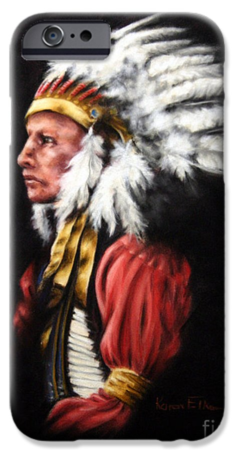 Native American IPhone 6s Case featuring the pastel The Chief 2 by Karen Elkan