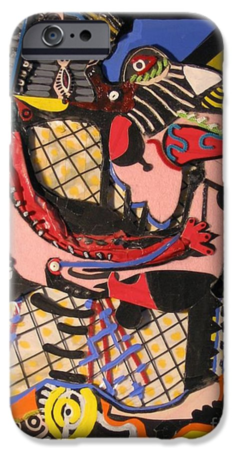 Abstract IPhone 6s Case featuring the mixed media The Kiss Aka The Embrace After Picasso 1925 by Mack Galixtar