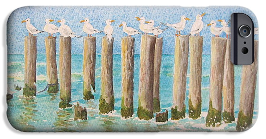 Seagulls IPhone 6s Case featuring the painting The Town Meeting by Mary Ellen Mueller Legault