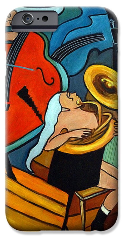 Musician Abstract IPhone 6s Case featuring the painting The Tuba Player by Valerie Vescovi