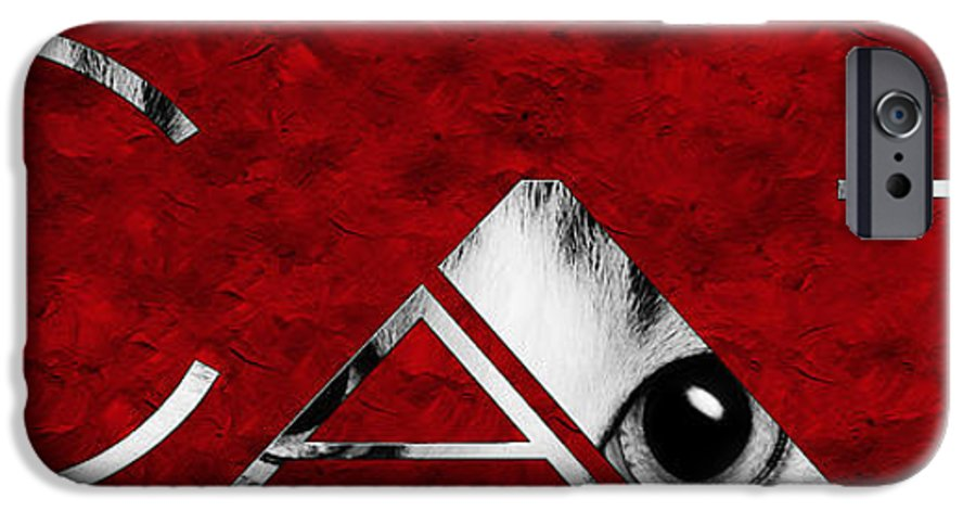 Andee Design Cat IPhone 6s Case featuring the photograph The Word Is Cat Bw On Red by Andee Design