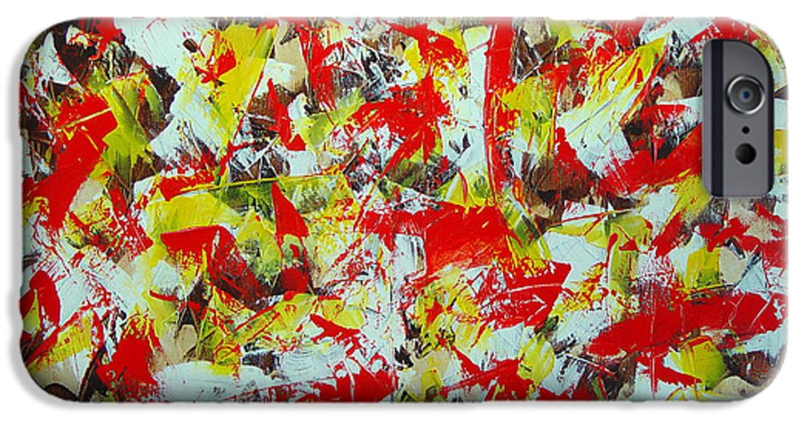 Abstract IPhone 6s Case featuring the painting Transitions With Yellow Brown And Red by Dean Triolo