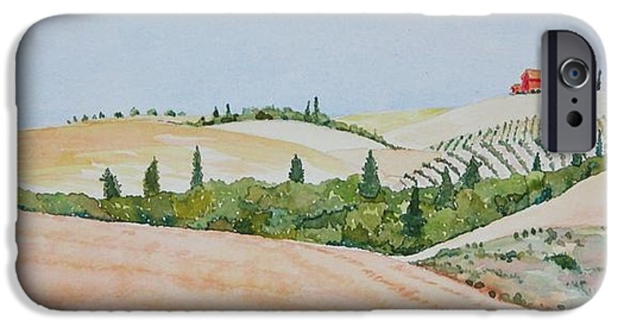 Landscape IPhone 6s Case featuring the painting Tuscan Hillside One by Mary Ellen Mueller Legault