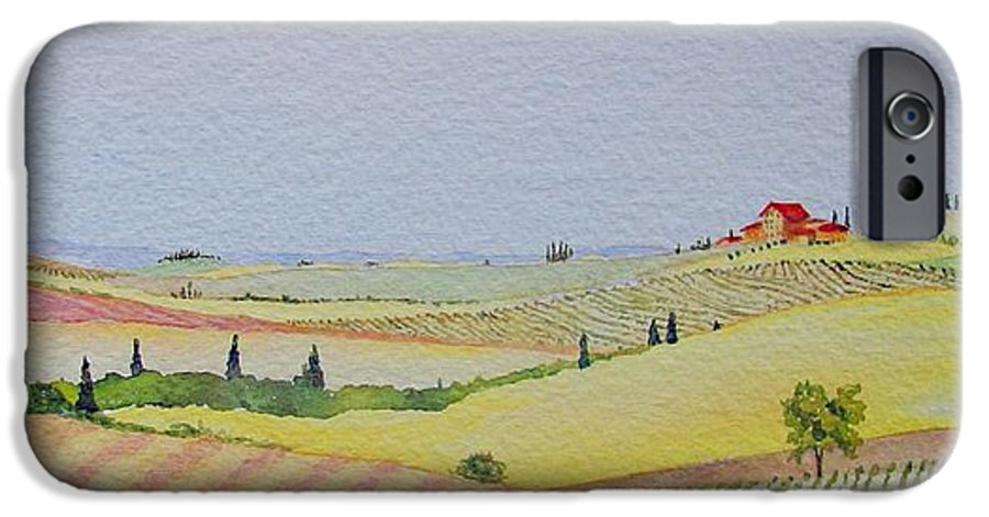 Watercolor IPhone 6s Case featuring the painting Tuscan Hillside Three by Mary Ellen Mueller Legault