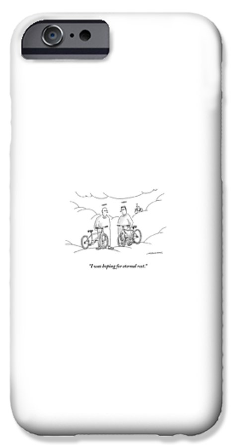 Angels IPhone 6s Case featuring the drawing Two Angels With Bicycles Converse. Another Angel by Mick Stevens