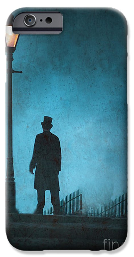 Victorian IPhone 6s Case featuring the photograph Victorian Man Standing Next To An Illuminated Gas Lamp by Lee Avison