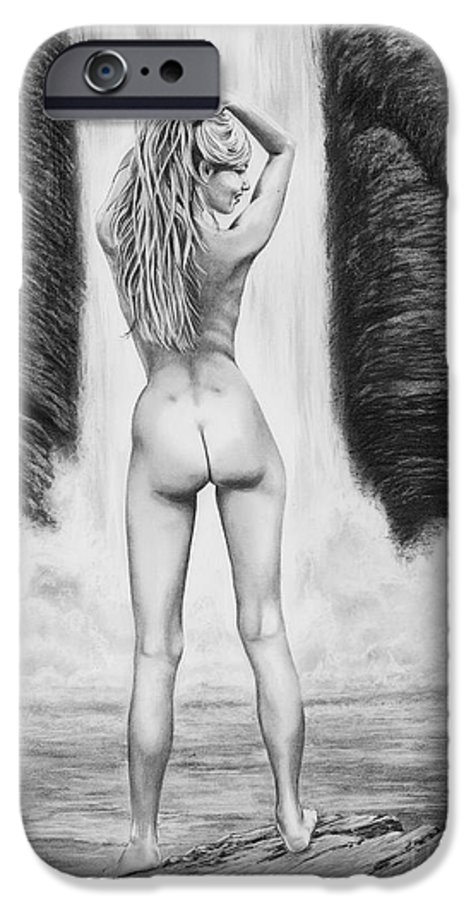 Waterfall IPhone 6s Case featuring the drawing Waterfall Pin Up Girl by Murphy Elliott
