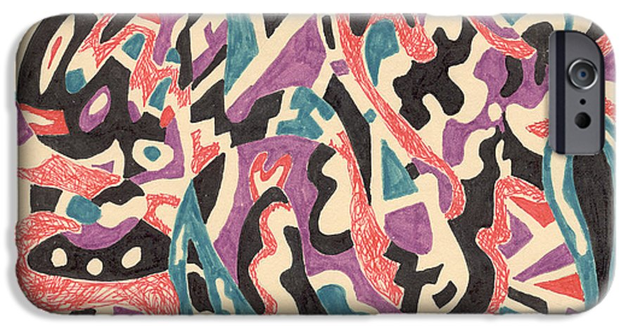 Wild Tribal Abstract Drawing Original Red Cream Black Teal Blue Purple Pattern Movement Rlmdesignes IPhone 6s Case featuring the drawing Wild by Rebekah McLeod