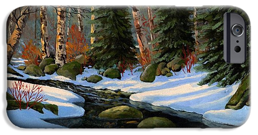 Landscape IPhone 6s Case featuring the painting Winter Brook by Frank Wilson