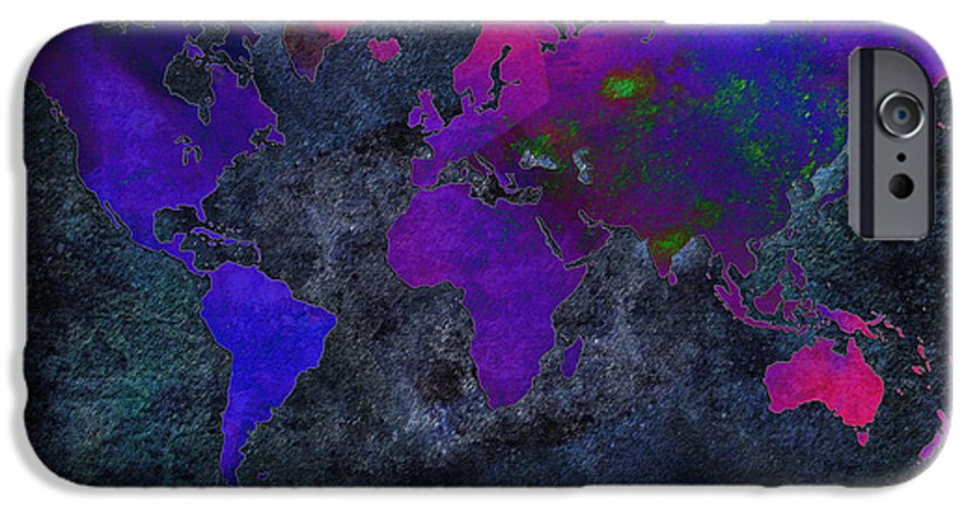 Andee Design Map IPhone 6s Case featuring the digital art World Map - Purple Flip The Dark Night - Abstract - Digital Painting 2 by Andee Design