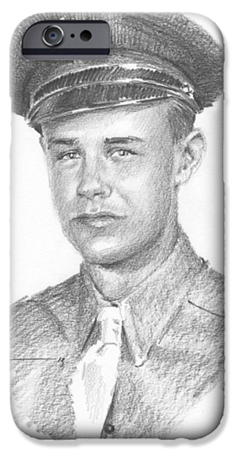 <a Href=http://miketheuer.com>www.miketheuer.com</a> Wwii Military Dad Pencil Portrait IPhone 6s Case featuring the drawing Wwii Military Dad Pencil Portrait by Mike Theuer