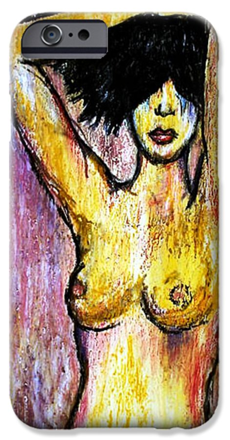 Nude IPhone 6s Case featuring the drawing Yellow by Thomas Valentine