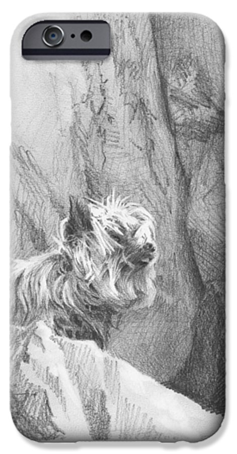 <a Href=http://miketheuer.com Target =_blank>www.miketheuer.com</a> Yorkie Dog On A Cliff Pencil Portrait IPhone 6s Case featuring the drawing Yorkie Dog On A Cliff Pencil Portrait by Mike Theuer