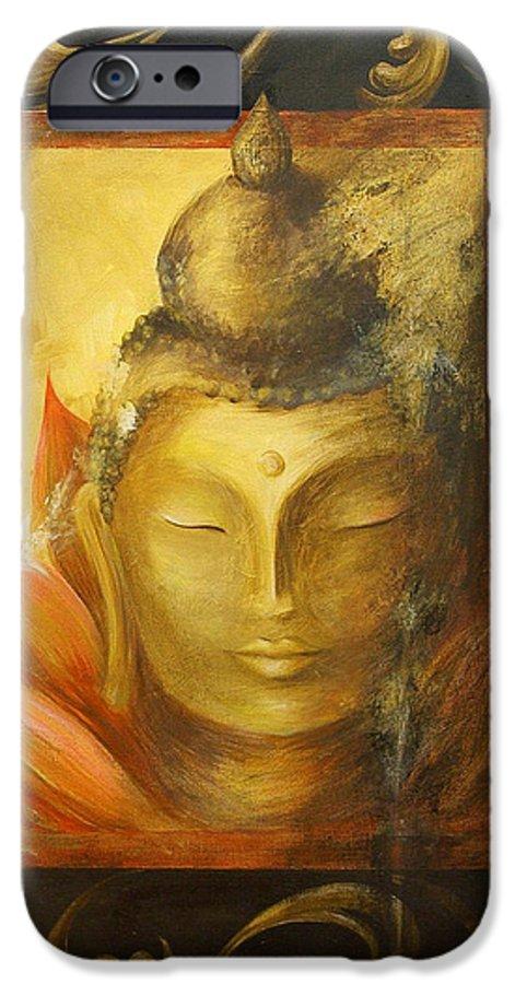 Buddha Buddhist Spiritual Yoga Lotus Meditation IPhone 6s Case featuring the painting Transcendence by Dina Dargo
