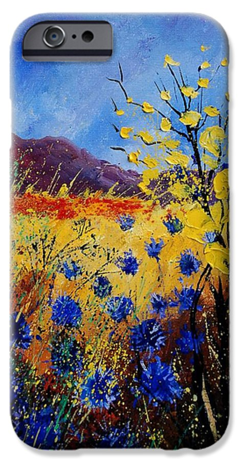 Poppies Flowers Floral IPhone 6s Case featuring the painting Blue Cornflowers by Pol Ledent