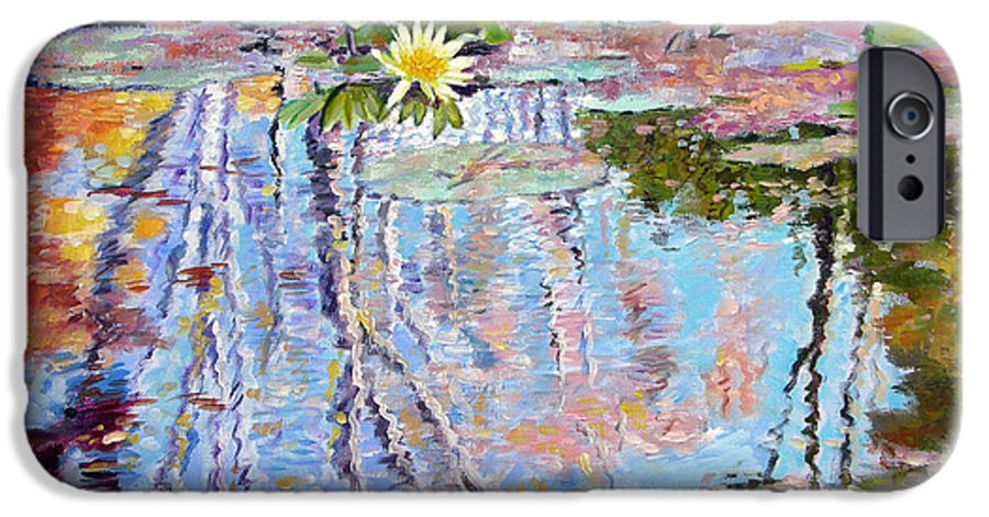 Garden Pond IPhone 6s Case featuring the painting Fall Reflections by John Lautermilch