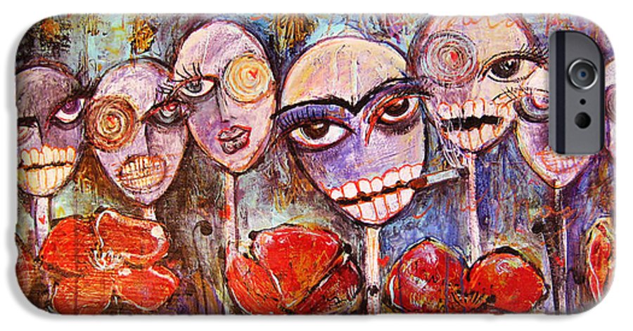 Dia De Los Muertos IPhone 6s Case featuring the painting 5 Poppies For The Dead by Laurie Maves ART