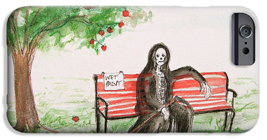 Darkestartist Day Death Holiday Humor Ink Off Paint Park Watercolor Watercolour IPhone 6s Case featuring the painting A Day At The Park by Darkest Artist