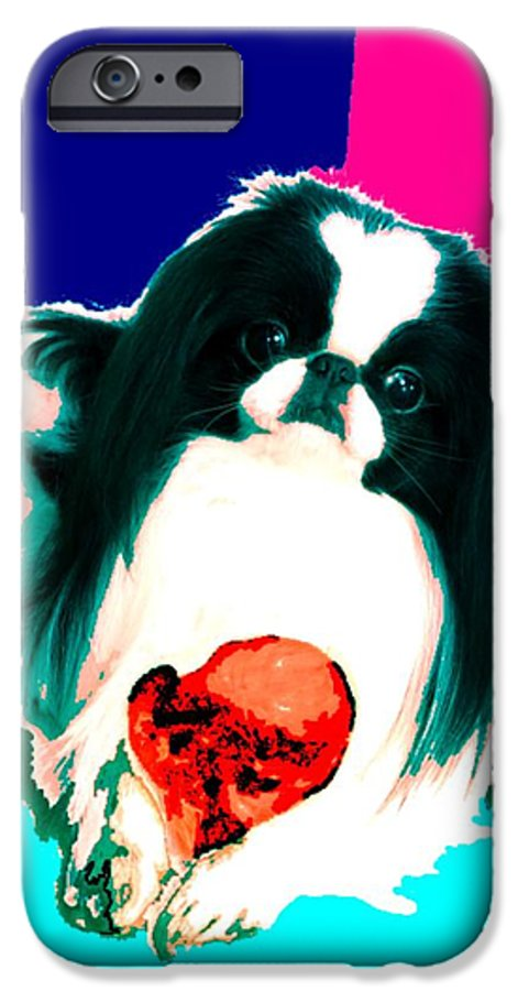 A Japanese Chin And His Toy IPhone 6s Case featuring the digital art A Japanese Chin And His Toy by Kathleen Sepulveda