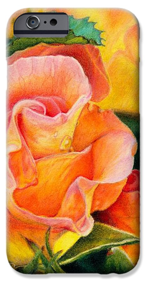 Coloured Pencil IPhone 6s Case featuring the painting A Rose For Nan by Amanda Jensen