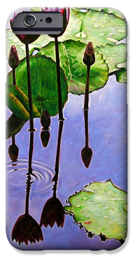 Rose Colored Water Lilies After A Morning Shower With Dark Reflections And Water Ripple. IPhone 6s Case featuring the painting After The Shower by John Lautermilch