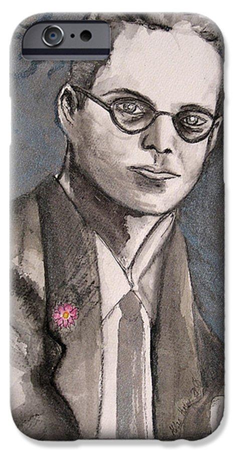 Aldous Brave Darkestartist Huxley New Painting Portrait Watercolor Watercolour World IPhone 6s Case featuring the painting Aldous Huxley by Darkest Artist