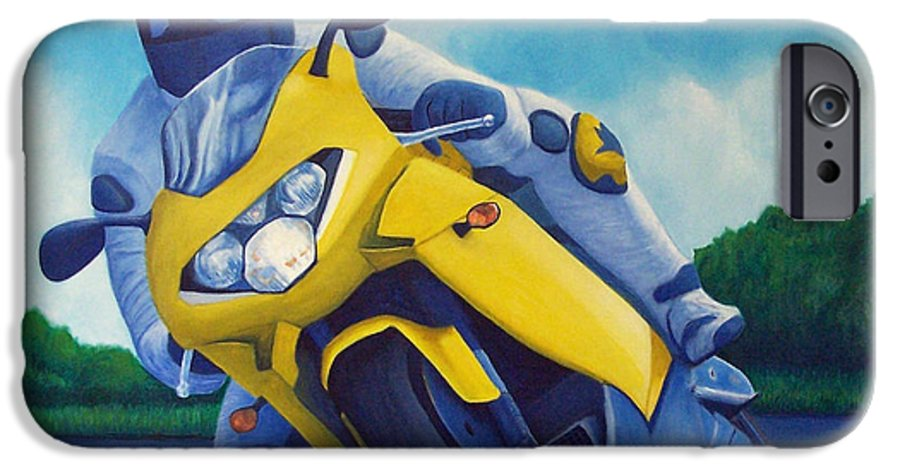Motorcycle IPhone 6s Case featuring the painting Aprilla - Tuesday Afternoon by Brian Commerford