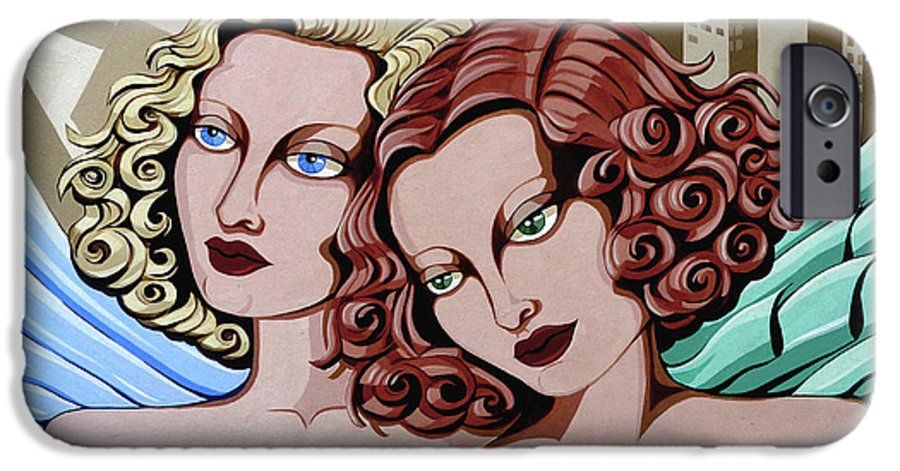 Portrait IPhone 6s Case featuring the painting Arielle And Gabrielle by Tara Hutton