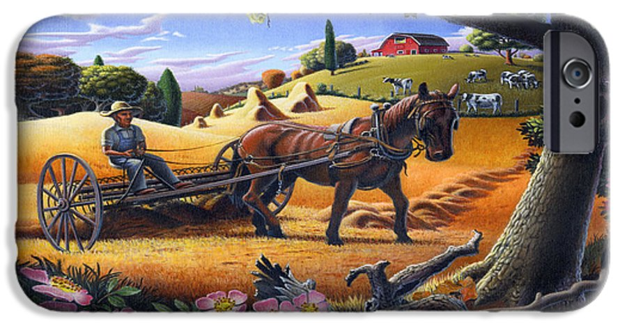 Raking Hay IPhone 6s Case featuring the painting Raking Hay Field Rustic Country Farm Folk Art Landscape by Walt Curlee