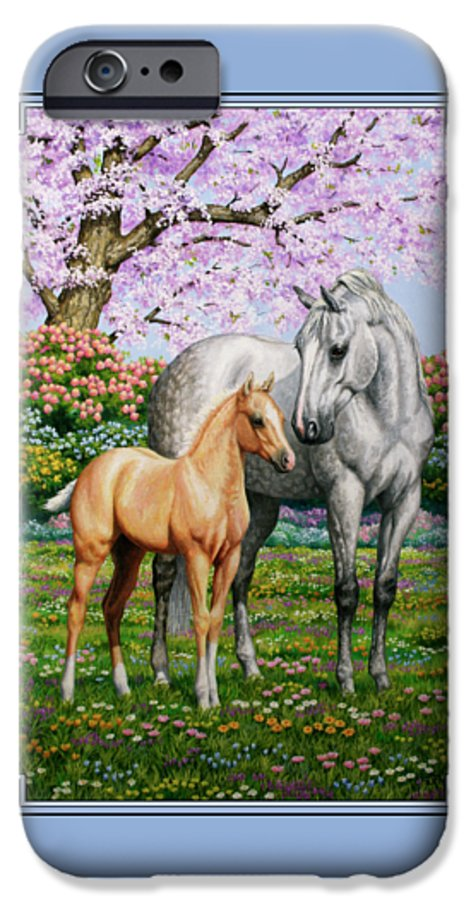 Horse IPhone 6s Case featuring the painting Spring's Gift - Mare And Foal by Crista Forest