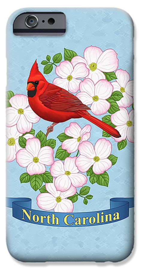 Bird IPhone 6s Case featuring the painting North Carolina State Bird And Flower by Crista Forest