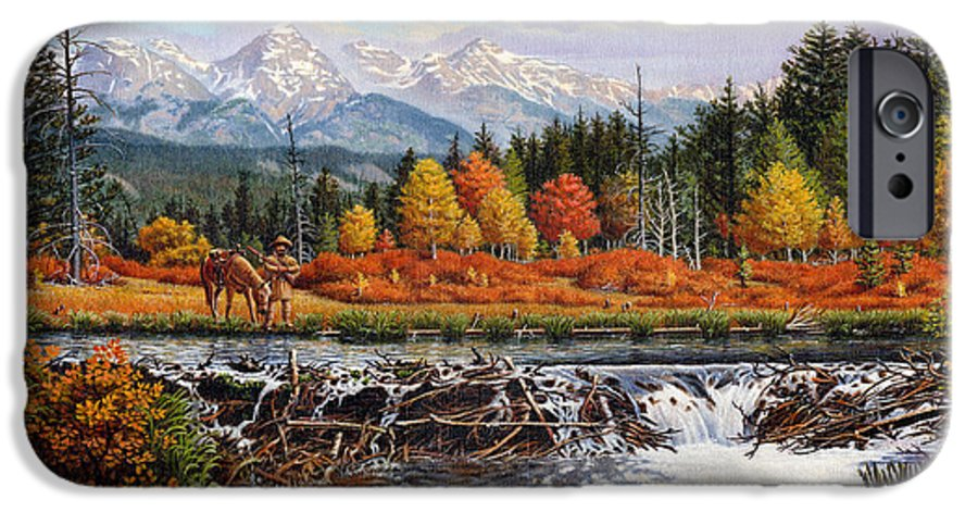 Western Mountain Landscape IPhone 6s Case featuring the painting Western Mountain Landscape Autumn Mountain Man Trapper Beaver Dam Frontier Americana Oil Painting by Walt Curlee