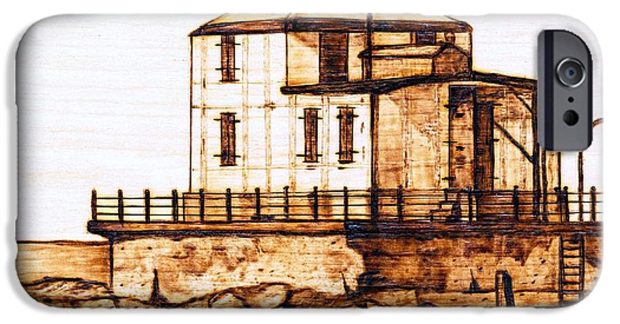 Lighthouse IPhone 6s Case featuring the pyrography Ashtabula Harbor by Danette Smith