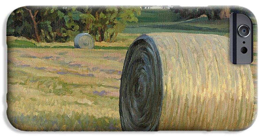 Landscape IPhone 6s Case featuring the painting August Bales by Bruce Morrison