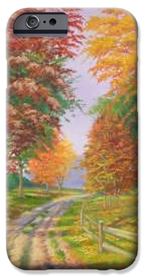 Fall Scene IPhone 6s Case featuring the painting Autumn Drive by Tan Nguyen
