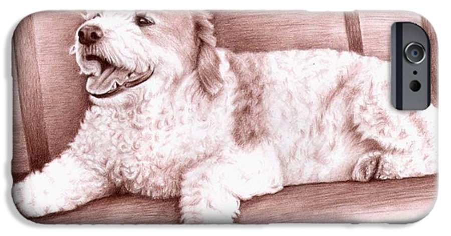 Dog IPhone 6s Case featuring the drawing Baco by Nicole Zeug