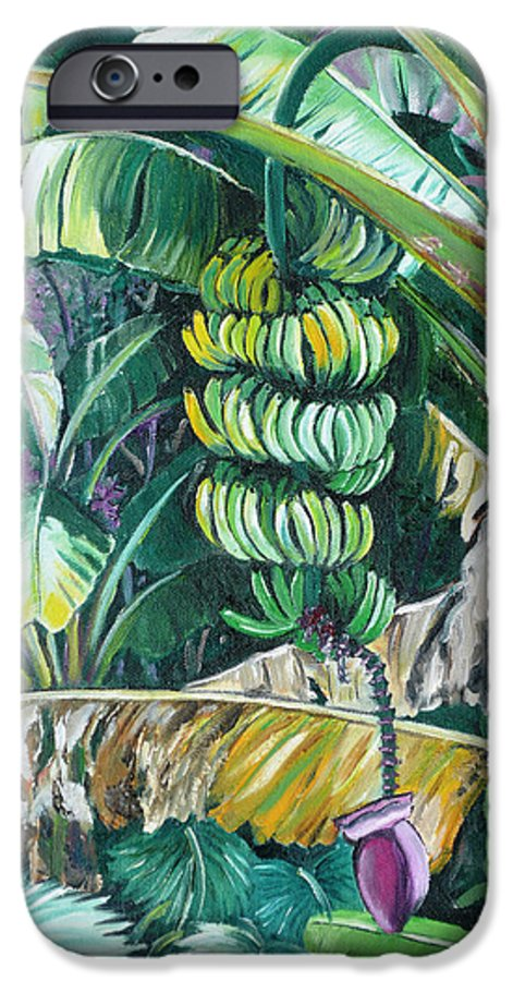 Caribbean Painting Bananas Trees P Painting Fruit Painting Tropical Painting IPhone 6s Case featuring the painting Bananas by Karin Dawn Kelshall- Best