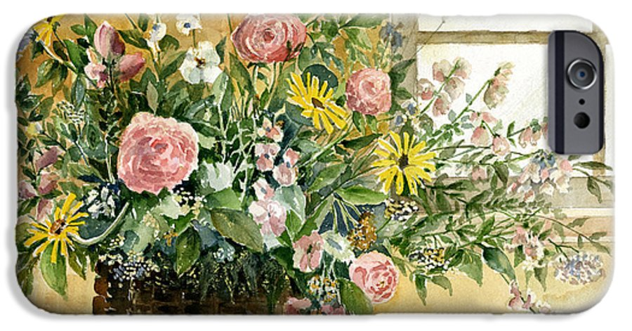 Basket IPhone 6s Case featuring the painting Basket Bouquet by Arline Wagner
