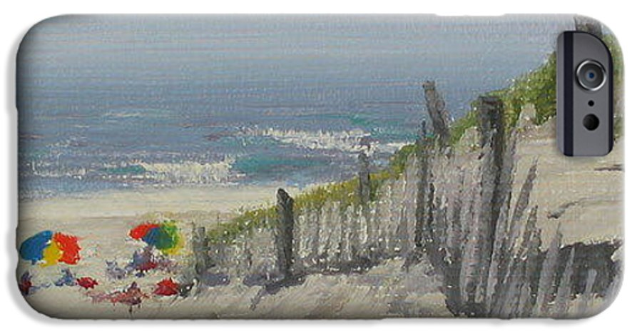 Beach IPhone 6s Case featuring the painting Beach Scene Miniature by Lea Novak