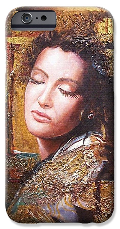 Female Portrait IPhone 6s Case featuring the painting Because You Are Beautiful by Sinisa Saratlic