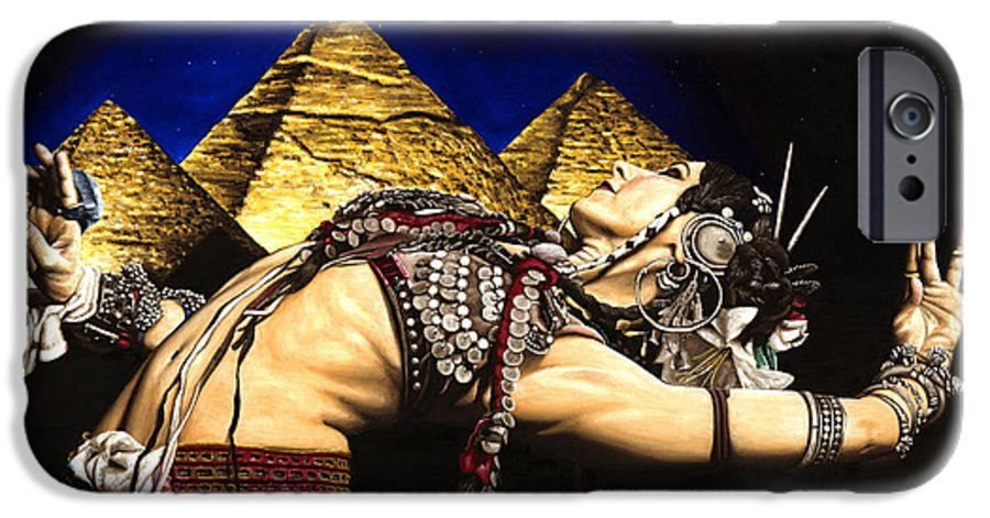 Bellydance IPhone 6s Case featuring the painting Bellydance Of The Pyramids - Rachel Brice by Richard Young